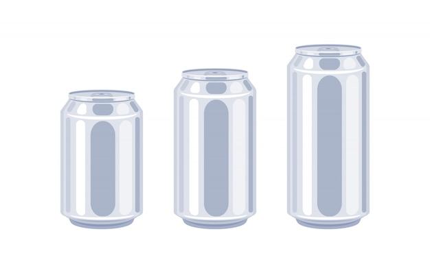 Set di icone di dimensioni lattine di birra.
