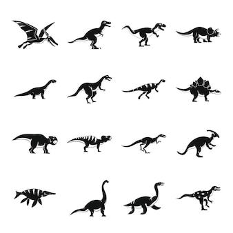 Set di icone di dinosauro, stile semplice