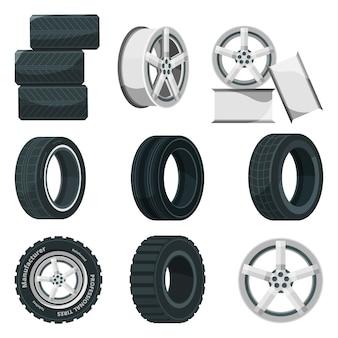 Set di icone di dischi diversi per ruote e pneumatici.