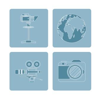 Set di icone di dispositivi di giornalismo