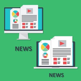 Set di icone di dispositivi digitali, laptop e computer, notizie online in stile piatto