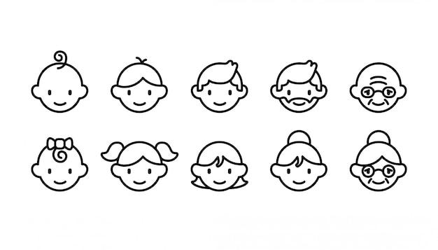 Set di icone di diverse fasce d'età di persone dal bambino all'anziano