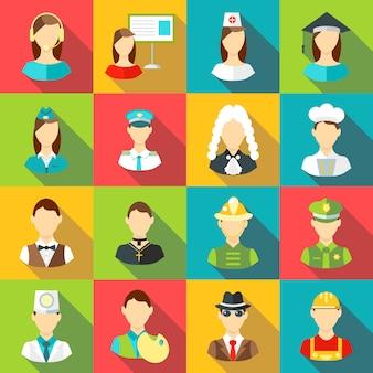 Set di icone di diverse professioni, stile piano