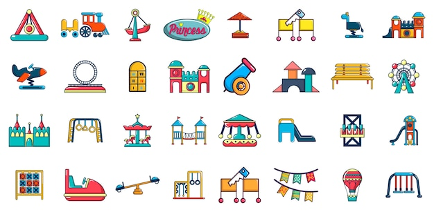 Set di icone di divertimento del capretto. l'insieme del fumetto delle icone di vettore di divertimento del bambino ha messo isolato