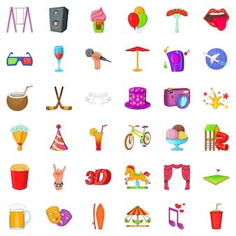 Set di icone di divertimento, stile cartoon