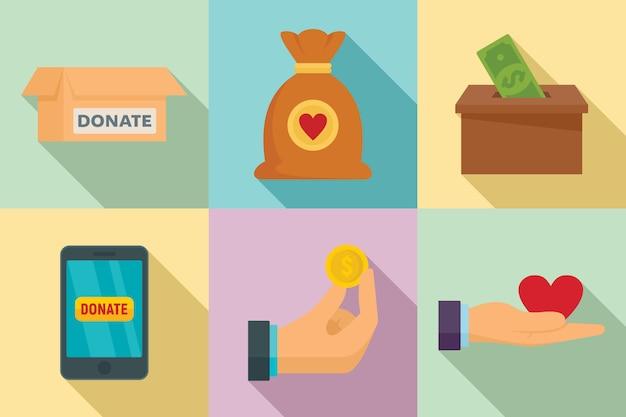 Set di icone di donazioni, stile piano