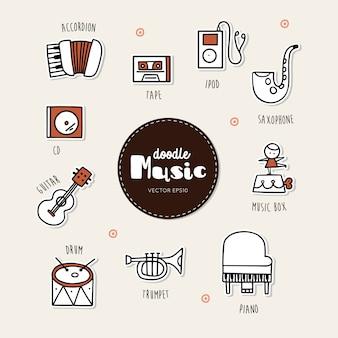 Set di icone di doodle disegnato a mano di musica.