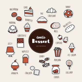 Set di icone di doodle disegnato a mano dolce e dolce.