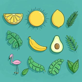 Set di icone di doodle estate con banana avocado, limone e fenicottero