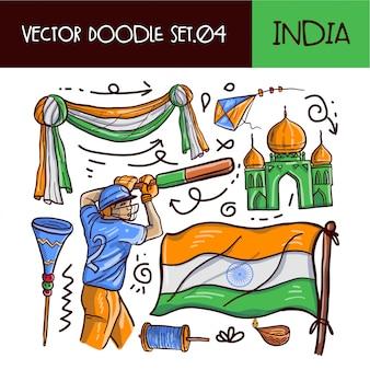 Set di icone di doodle festa della repubblica indiana