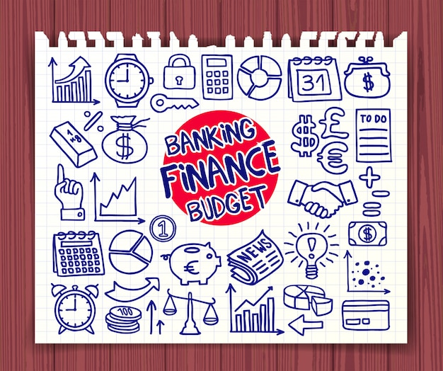 Set di icone di doodle finance, banking e budget