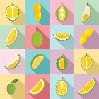Set di icone di durian, stile piano