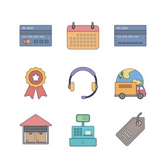 Set di icone di e-commerce per uso personale e commerciale
