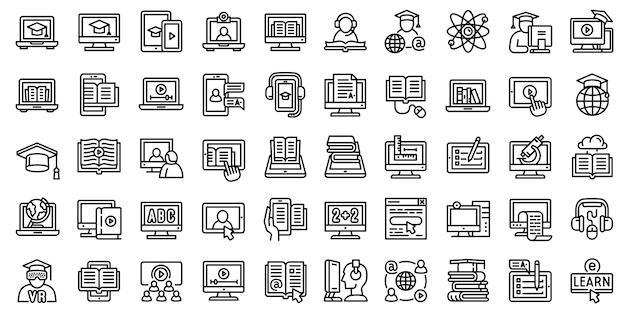 Set di icone di e-learning. insieme del profilo delle icone di vettore di elearning isolate