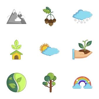 Set di icone di ecologia, stile cartoon