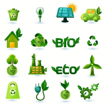 Set di icone di ecologia verde