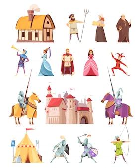 Set di icone di edifici di personaggi medievali
