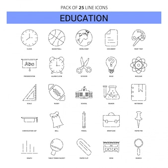 Set di icone di educazione linea - 25 stile contorno tratteggiato