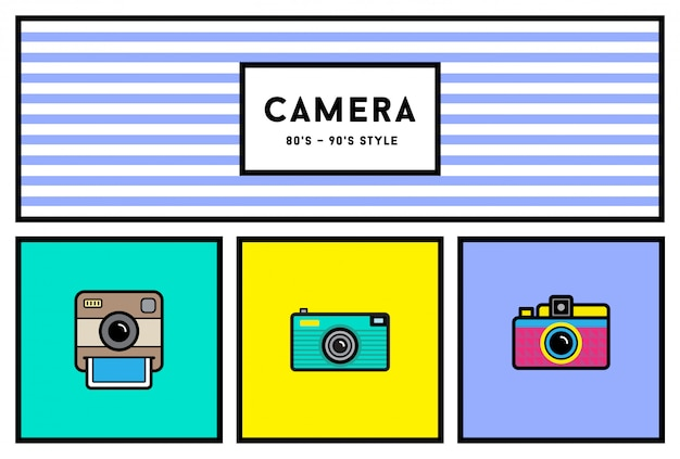 Set di icone di elegante fotocamera foto anni 80 o 90 con colori retrò