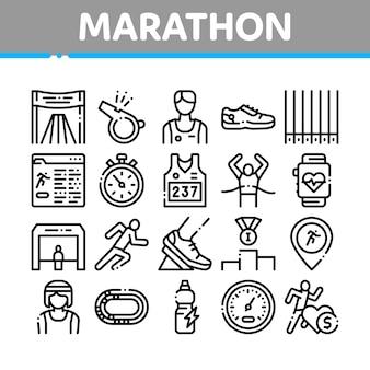 Set di icone di elementi collezione maratona