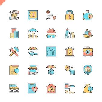 Set di icone di elementi di assicurazione linea piatta