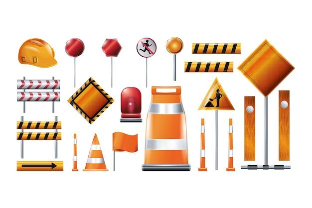 Set di icone di elementi di costruzione