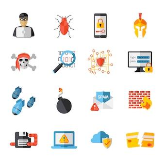 Set di icone di elementi di hacking