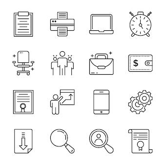Set di icone di elementi di ufficio