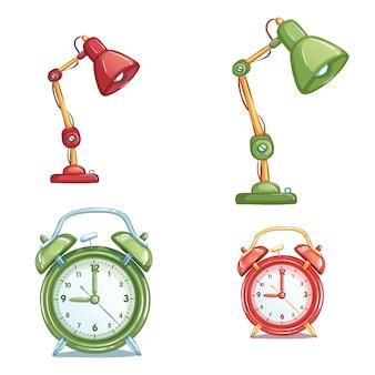 Set di icone di elementi. lampada da tavolo e sveglia in diversi colori. forniture scolastiche isolati su sfondo bianco.