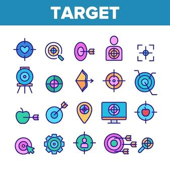 Set di icone di elementi obiettivo obiettivo