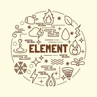 Set di icone di elemento minimo di elemento sottile