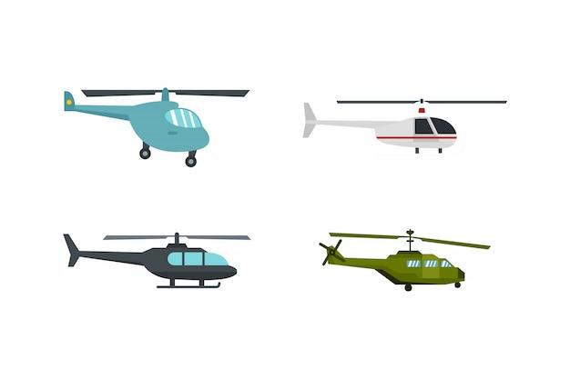 Set di icone di elicottero. insieme piano della raccolta delle icone di vettore dell'elicottero isolato