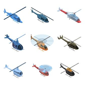 Set di icone di elicottero