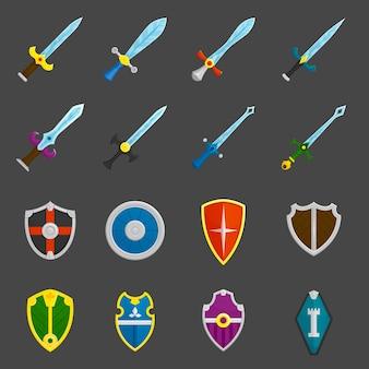 Set di icone di emblemi di spade di scudo