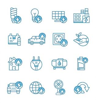 Set di icone di energia con stile contorno.