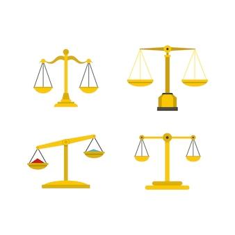 Set di icone di equilibrio. insieme piano della raccolta delle icone di vettore dell'equilibrio isolato