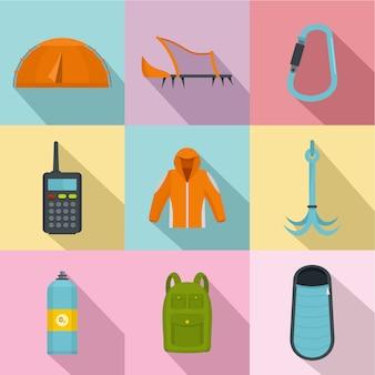 Set di icone di escursione, stile piano