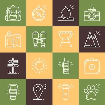 Set di icone di escursionismo e campeggio.