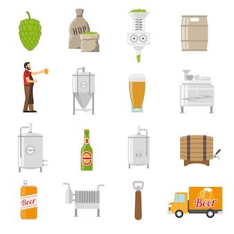 Set di icone di fabbrica di birra