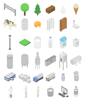 Set di icone di fabbrica di latte, stile isometrico