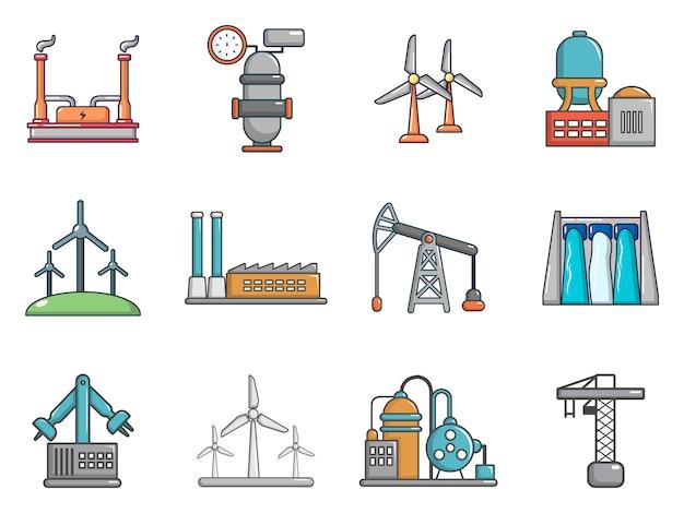Set di icone di fabbrica. l'insieme del fumetto delle icone di vettore della fabbrica ha messo isolato