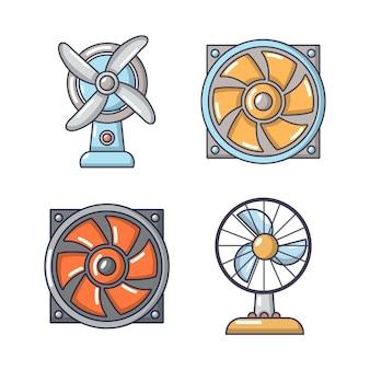 Set di icone di fan. l'insieme del fumetto delle icone di vettore del fan ha messo isolato