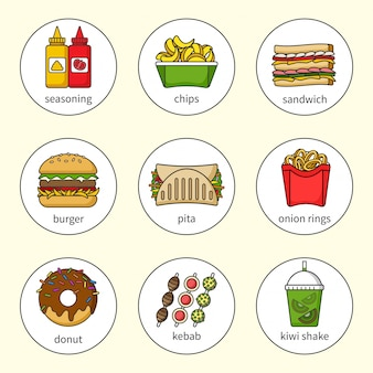 Set di icone di fast food. bevande, snack e dolci. collezione di icone colorate delineato. panino, hamburger, pita, ciambella, frullato, patatine, kebab, condimento, anelli di cipolla.