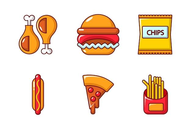 Set di icone di fast food. l'insieme del fumetto delle icone di vettore degli alimenti a rapida preparazione ha messo isolato