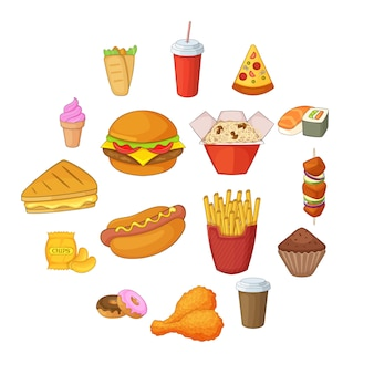 Set di icone di fast food, stile cartoon