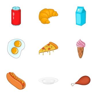 Set di icone di fast food, stile cartoon