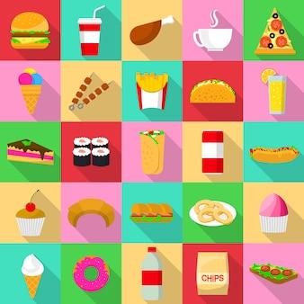 Set di icone di fast food. un'illustrazione piana di 25 icone degli alimenti a rapida preparazione per il web