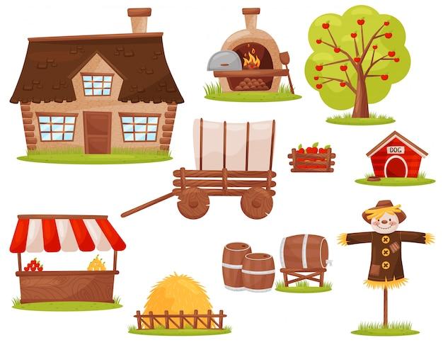 Set di icone di fattoria. casetta, forno a legna, albero da frutto, mucchio di fieno, bancarella del mercato