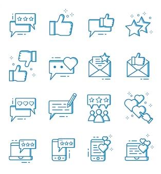 Set di icone di feedback e recensione con stile contorno