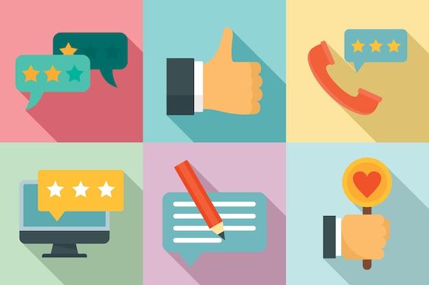 Set di icone di feedback, stile piano